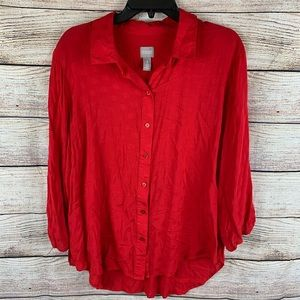Chico's Red Button Down Blouse Chico's 3 Size L